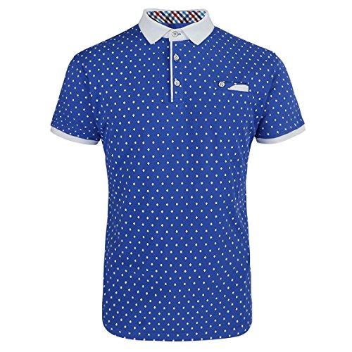 (Mens Cotton Slim Fit Polo Shirts for Men Short Sleeve Breathable Turn Down Collar Classic Golf Shirt (Royal, XL) )