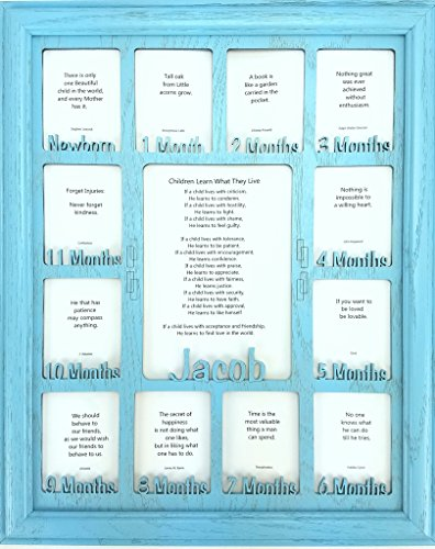 Baby First Year Picture Frame - Personalized Picture Frame with any Name - Baby 12 Months Picture Frame, Baby Collage, Baby Frame, Aqua Picture Frame and Aqua Matte