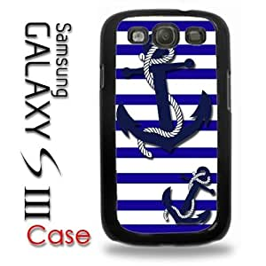 Samsung Galaxy S3 Plastic Case - Nautical Anchor Patter Blue White Stripes