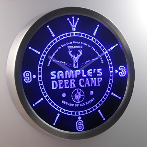 nctu-tm Name Personalized Custom Deer Camp Big Racks Bar Neon Sign LED Wall Clock