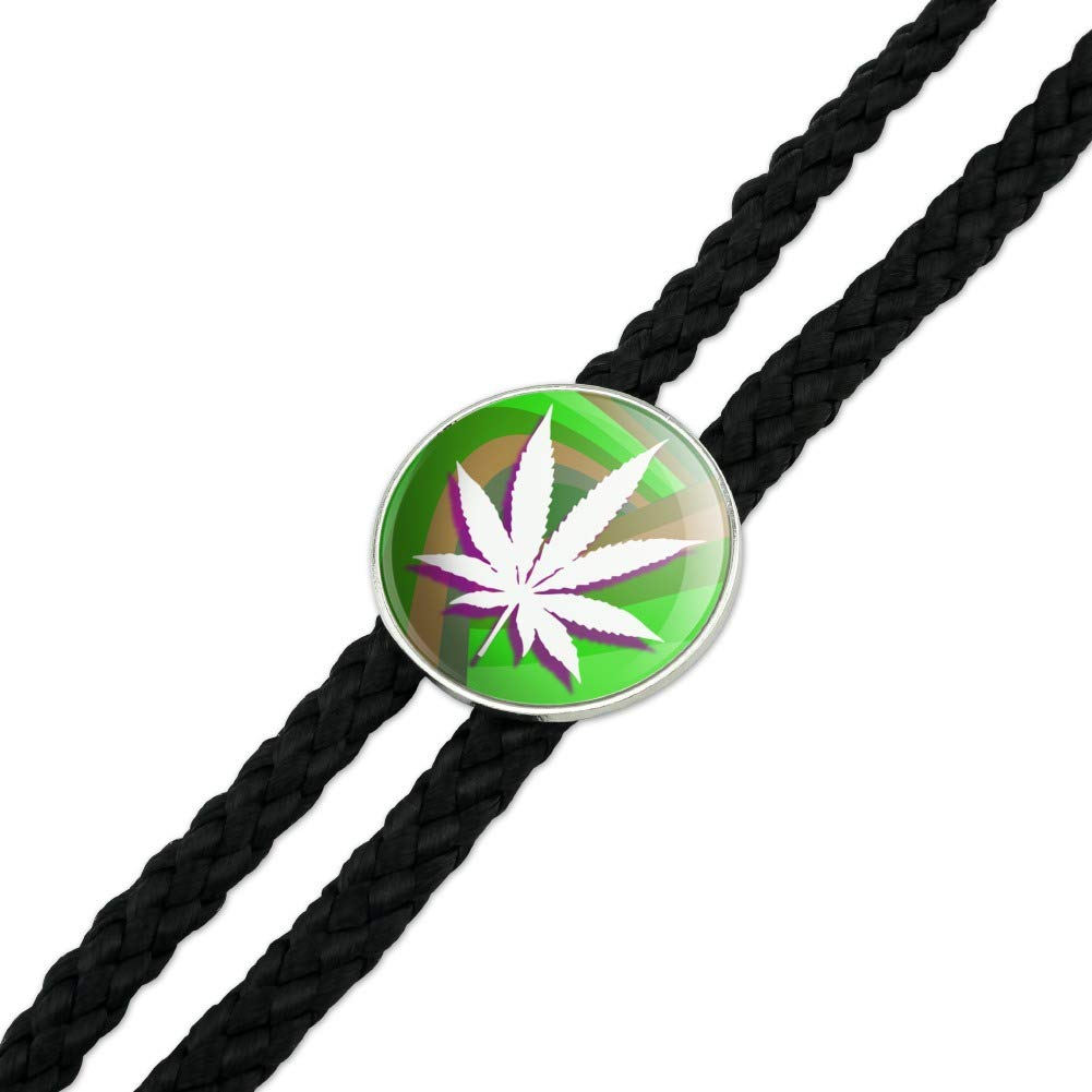 Marijuana Leaf Pot Weed Psychedelic Western Southwest Cowboy Necktie Bow Bolo Tie