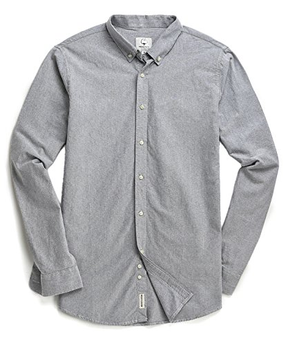 Mens Long Sleeve Oxford Shirt - MOCOTONO Men's Oxford Long Sleeve Button Down Casual Dress Shirt,Light Gray,Medium