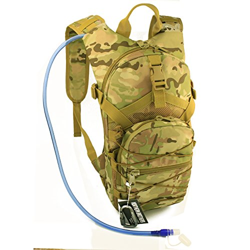 Hydration Backpack Tactical Rucksack Run-pack with 3 Liter/100 oz Reservoirs Water Bladder Bag for Hiking, Running, Camping, Climbing, Cycling, Walking, Hunting (CP Camouflage)
