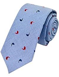 Men's Fashion Causal Black Floral Printed Linen Tie Necktie