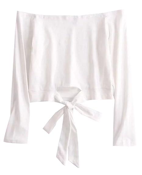 Crop Top Mujer Verano Cortas del Hombro Camisetas Casual Fiesta Manga Larga Tank Tops Señora Elegantes