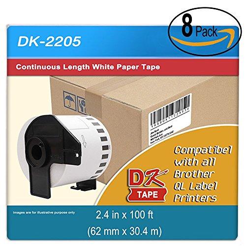 """Continuous Paper Roll - DK-2205 Compatible Brother Continuous Paper Labels Roll, Cut-to-Length Label, 2.4"""" x 100 Feet for Brother QL-500 QL-570 QL-700 QL-710W QL-720NW Laebl Printer (8 Roll Plus 1 Reusable Cartridge Per Box)"""