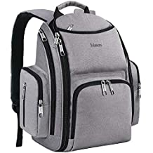 Diaper Bag Backpack, Large Multifunction Waterproof Travel Backpacks for Mom/Dad with Insulated Pockets, Changing Pad, Stroller Straps, Mancro Durable Maternity Baby Nappy Bags for Boys/Girls, Grey