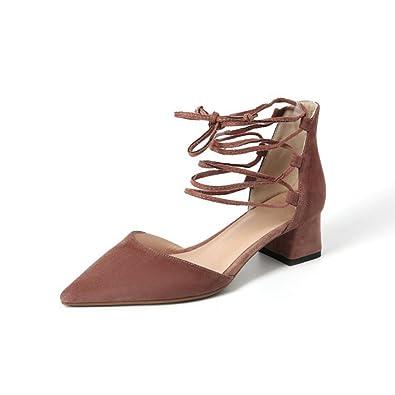 Femmes Sandales Talons Moyen Bloc En Velours pure Couleur Lanières Rome  Chaussures Slip-on Bout 6475458169a0