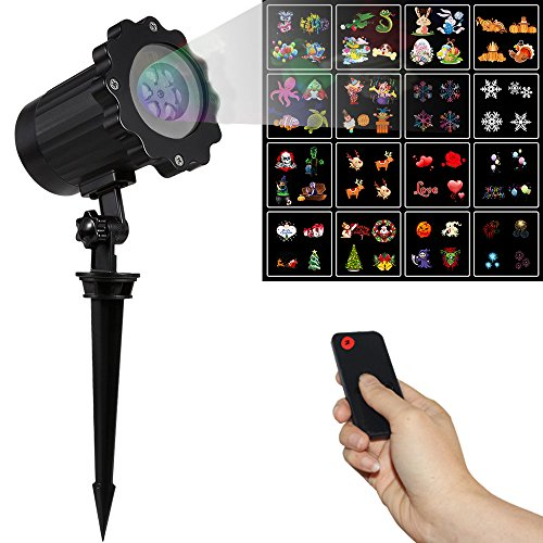 YOUDirect Projection Light - 16 Scene Patterns Celebration Series LED Projection Lamp Rotating Night Projection Timer Lamp with IR Remote Controler for Outdoor Christmas Halloween Holiday (Halloween Cast Now)