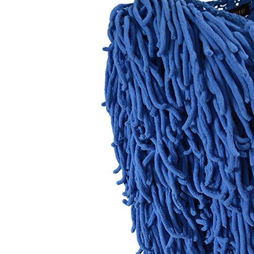 iBaste Abrigos Mujer Larga Manga Estilo Punk Cárdigan Borlas Largas Tejido de Punto Chaqueta Jersey Oversize de Punto Azul