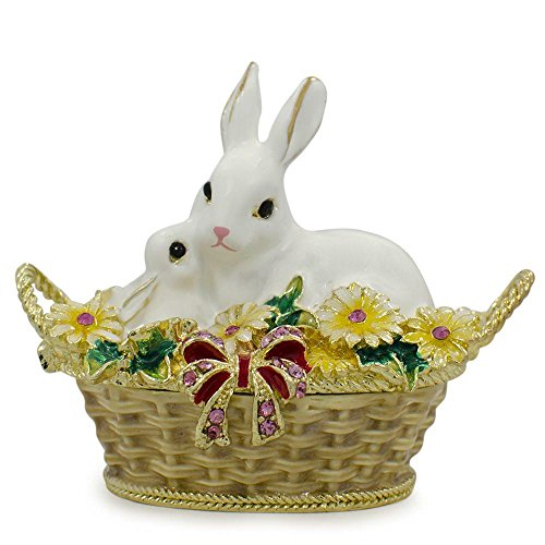 "2.5"" White Bunny Family in Easter Basket Trinket Box Figurin"