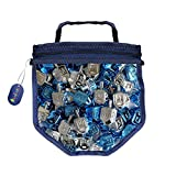 Blue and Silver Metallic Dreidels Game with Instructions in Keepsake DreidelShaped Bag (50-Pack)