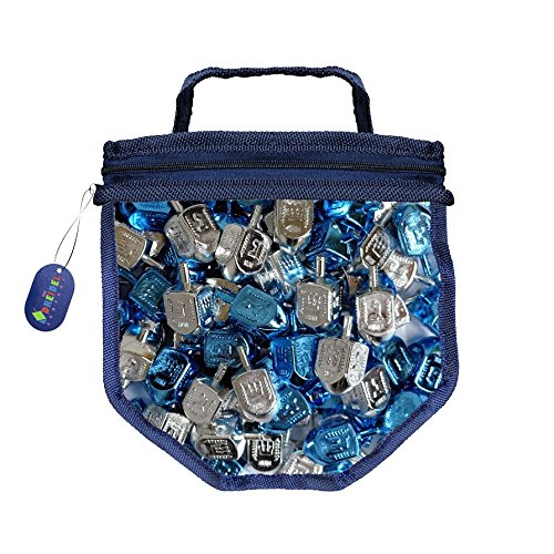 Blue and Silver Metallic Dreidels Game with Instructions in Keepsake DreidelShaped Bag (25-Pack) by The Dreidel Company