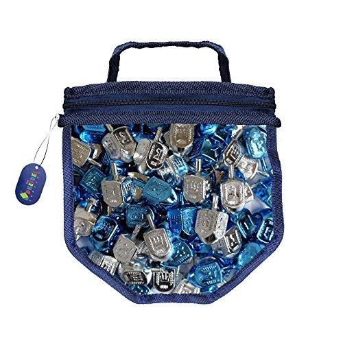 Blue and Silver Metallic Dreidels Game with Instructions in Keepsake DreidelShaped Bag (25-Pack)