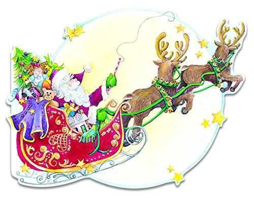 Carol Wilson Fine Arts Inc.- Embossed & Die Cut- Santa in Sleigh - Christmas Cards- Boxed - 10 count- crgbx123