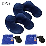 Pack of 2 Travel Pillow, JXZH U-Shaped Inflatable Neck Pillow with Ear Plugs, Eye Mask and Carrying Bag Support Airplane Travel Car Office(Blue)