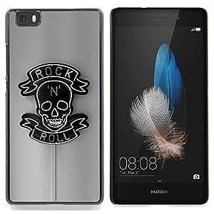 Ihec Tech Roca rodillo Muestra de neón del Café Bar Negro / Funda Case back Cover guard / for Huawei Ascend P8 Lite (Not for Normal P8)