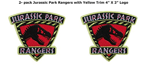 Blue Heron Jurassic Park Movie Ranger Shield (2-Pack) Embroidered Iron/Sew-on Applique (Galaxy Rangers Costume)