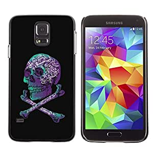 LECELL--Funda protectora / Cubierta / Piel For Samsung Galaxy S5 SM-G900 -- Purple Black Crossbones Teal Skull --
