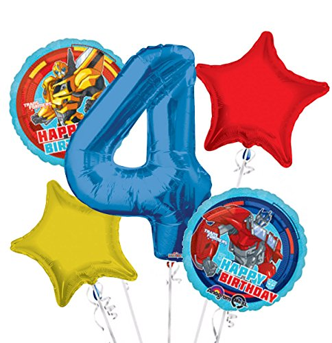 Transformers Happy Birthday Balloon Bouquet 4th Birthday 5 pcs - Party Supplies]()