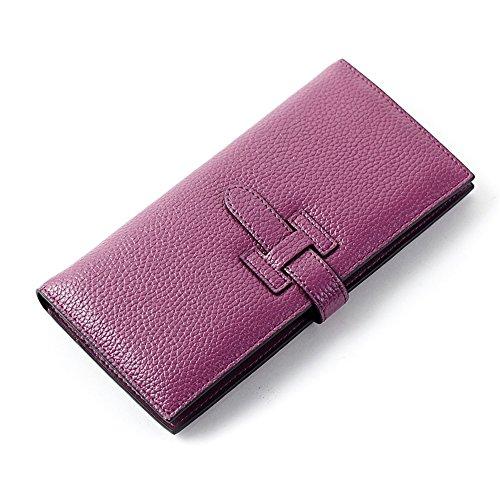 La Para Larga Embrague Cuero Mujer De Cartera Moda Grande Naranja Púrpura Delgada qSnAP6xOw