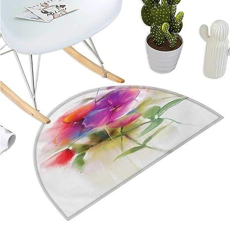 Amazon.com: Cojín semicircular de flores artísticas, flores ...