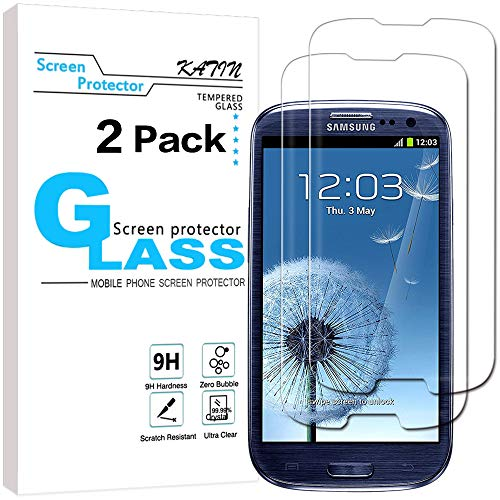 KATIN Galaxy S3 Screen Protector - [2-Pack] For Samsung Galaxy S3 III i9300 Tempered Glass Bubble free, 9H Hardness with Lifetime Replacement - S3 Phone Galaxy Protector