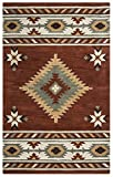Rizzy Home Southwest Collection SU1822 Handtufted 100% Wool Area Rug 2' x 3' Rust-Ivory