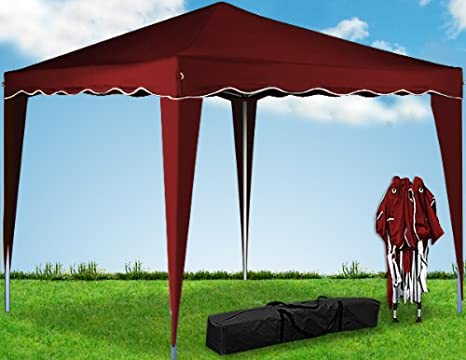 Deuba Pabellon de Jardin cenador Capri Rojo 3x3 m Carpa Plegable de jardín Impermeable y Pop Up para Eventos Camping: Amazon.es: Jardín