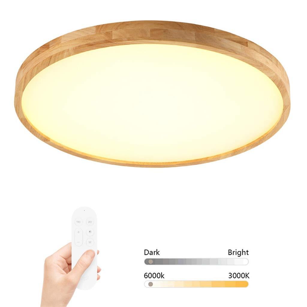 JINWELL Deckenleuchte Holz Deckenlampe warmweißem LED IP54 wasserdichte LED-Deckenleuchten, Unterputzmontage, Deckenleuchte, LED-Wohnzimmerleuchte aus massivem Holz, runde, einfache, moderne Arbeitsla