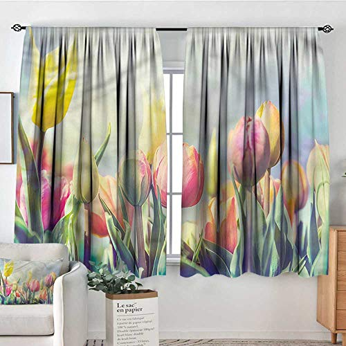 Anzhutwelve Pastel,Customized Chid Curtains Tulips Flower Bed Park 72