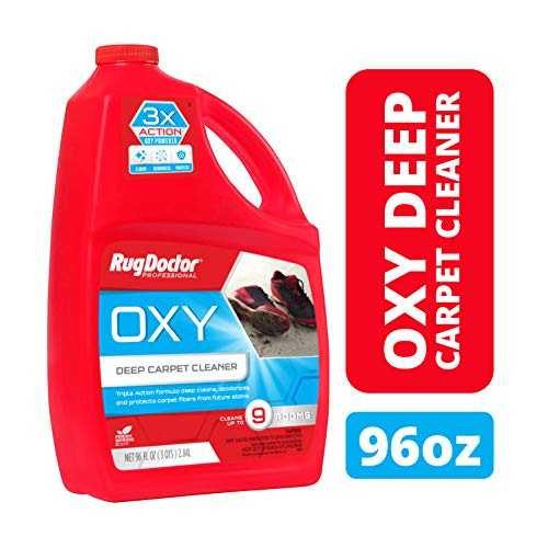Rug Doctor Triple Action Oxy Deep Cleaner Powerful, Professional-Grade, Deodorizes and Refreshes Carpets Protects Soft Surfaces from Spills and Stains, Cleans 9 Rooms, CRI-Certified, 96 Oz, 1