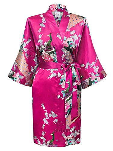 Swhiteme Women's Kimono Robe, Short, Peacock, Fuchsia, KPS01B