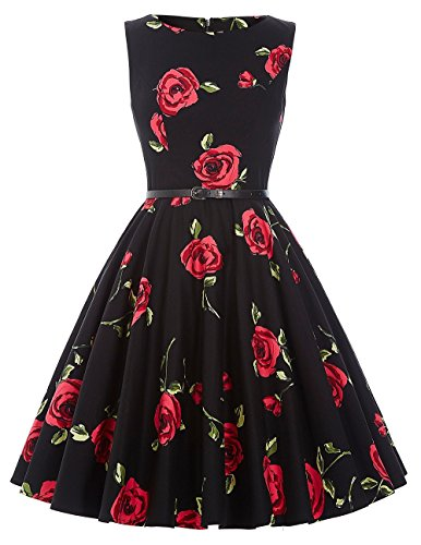 Vintage Tea Dresses for Women 1950s Retro with Belt Size L -
