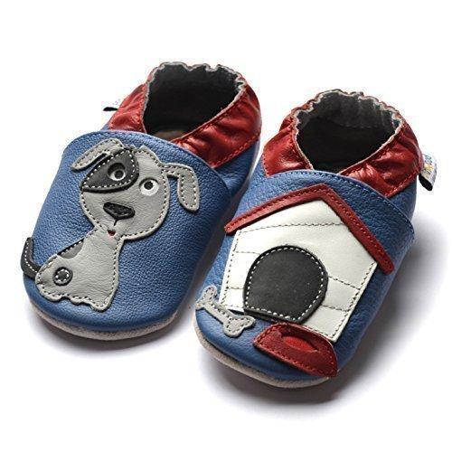 jinw–diseñado por amsomo–DOG océano–Zapatillas de suela suave–perro–Zapatillas de cuero–zapatos de bebé Azul - azul