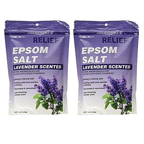 Relief Md Epsom Salt - Lavender Scented, Natural Magnesium Sulfate Crystsals with Added Fragrance, 16 Oz (Set of 2)