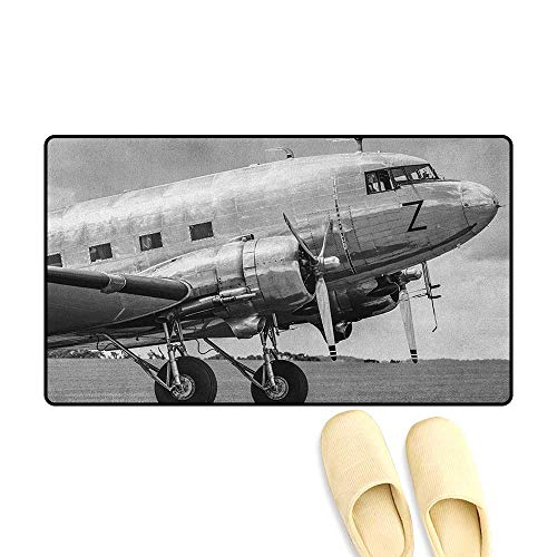 zojihouse Vintage Airplane Bath Mats for Bathroom Old Airliner Cockpit Antique Engine Propellers Wings and Nostalgia Image Size:16
