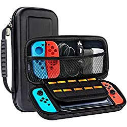 Nintendo Switch Carrying Case, METALBAY Protective Hard Shell for Game Console & Accessories with 10 Game Cartridges, Black & Portable Pouch for Traveling & Outdoor