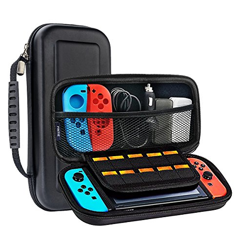 METALBAY Nintendo Switch Carrying Case, Protective Hard Shell for Game Console & Accessories with 10 Game Cartridges, Black & Portable Pouch for Traveling & Outdoor