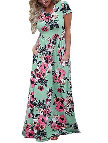 (LANREMON Women's Floral Print Rose Maxi Retro Bohemian Long Dress Summer 3/4 Sleeve Round Neck Pocket Pleated Robe Green 1 L)