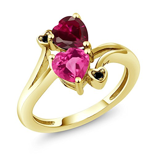 Red Gold Sapphire Ring - Gem Stone King 1.80 Ct Heart Shape Pink Created Sapphire Red Created Ruby 10K Yellow Gold Ring (Size 9)