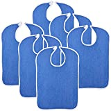 Reusable Terry Cloth Adult Bibs - 6 Pack Super Absorbent Waterproof Clothing Protector for Men, Women, Elderly - 18'x30' Blue Eating Aprons and Art Smocks, Machine Washable - by Royal Care