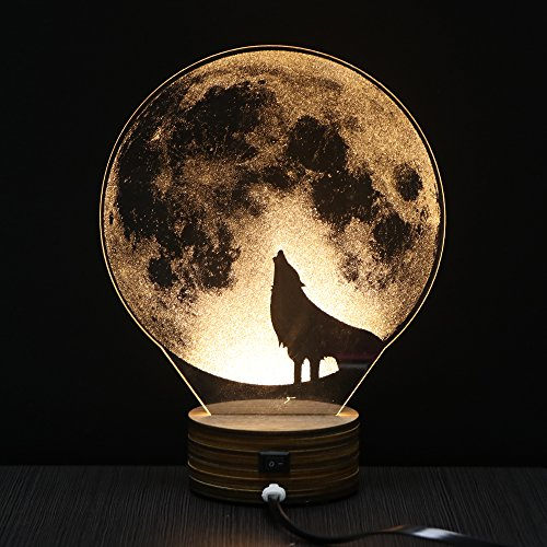 LED Table Lamp Jubapoz 3D Illusion Night Light Desk Lamp USB 3D Illusion Lamp, Acrylic Creative Toys Decorations, Warm White (Wolf)