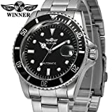 MASTOP Men Automatic Mechanical Watches Winner Luxury Brand Full Steel Waterproof Mens Watches With Calendar