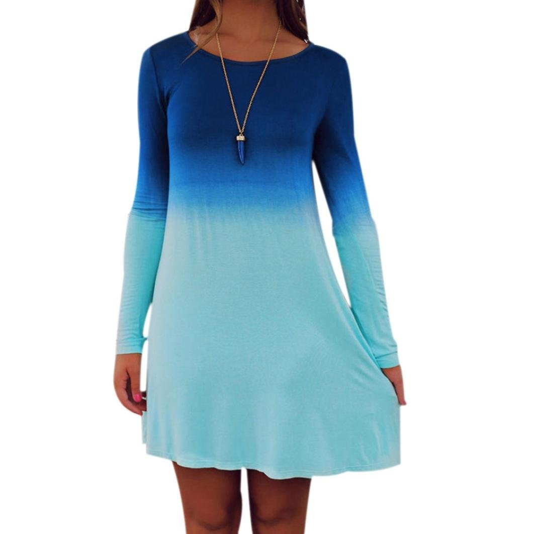 flank Womens Long Sleeve Casual Loose Gradient Color Short Mini Dress