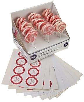 Wilton 1006-2977 Pink-White Lollipop Favor Kit, 24 Count
