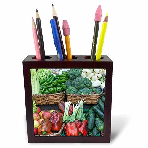 3dRose Danita Delimont - Markets - Spain, San Sebastian, Vegetables for Sale at Farmers Market - 5 inch tile pen holder (ph_257874_1) by 3dRose