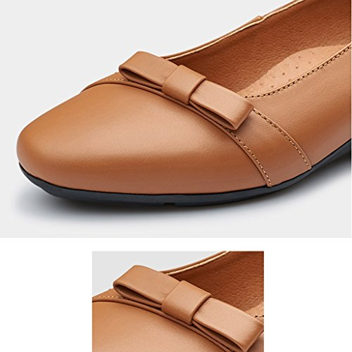 Middle Shoes Color Spring Sole Yellowish Mother Brown Women's Mother's Season Gift Aged 36 Day Sandals Shoes Blue Leather Soft Size ZCJB Lake FzZPxwqn