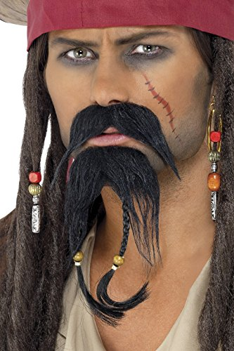 Facial Hair Halloween Costumes (Pirate Facial Hair Set Costume Accessory)
