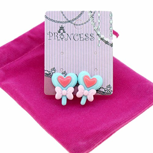 Heart Lollipop with Bow Tie Clip-on Stud Earrings for Kids Teenage Girls Daughter Party Gift -